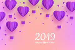 Happy New 2019 Year congratulation banner in trendy paper art style with folded origami violet hot air balloons. Stock Image