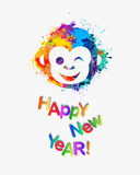Happy NEW 2016 Year congratulation card. Congratulation card. Monkey of splash paint Royalty Free Stock Photos
