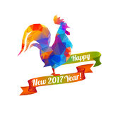 Happy New Year 2017 congratulation card. Polygonal Stock Photography