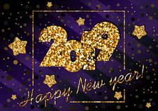 2019 happy New year, congratulation of gold sequins on dark violet background. 2019 happy New year, congratulation of gold sequins on dark violet, purple royalty free illustration