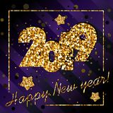 2019 happy New year, congratulation of gold sequins on dark violet background. 2019 happy New year, congratulation of gold sequins on dark violet, purple stock illustration