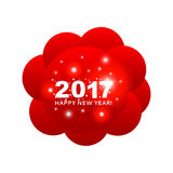 Happy New Year 2017 congratulation on the red circles make up a. Symbolic cloud with bright flashes. �an be used as a 2017 banner, cover, print, web, wrapping Royalty Free Stock Photo