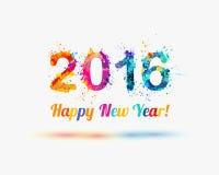 Happy New Year 2016. Congratulation vector card. Colorful watercolor splash. Holiday Stock Image