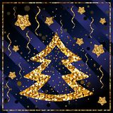 Happy New year, congratulations with Christmas tree and stars of gold confetti. On a dark blue background with stripes, glitter, frame stock illustration