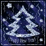 Happy New year, congratulations with Christmas tree and stars of silver confetti vector illustration