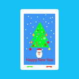 Happy New Year - congratulations on your mobile phone. Stock Photo