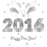 Happy New Year 2016 congratulatory background with patterned figures  Stock Image