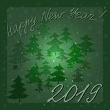 2019 happy new year - a congratulatory inscription on a winter background in a dark green frame. royalty free stock photo