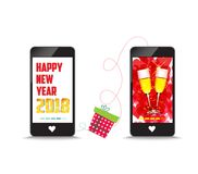 Happy new year 2018 connecting gift together by phone.  Royalty Free Stock Photo