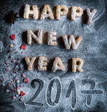 Happy New Year 2017. Cookies on the dark background