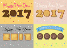 Happy New Year 2017. Cookies font. Numerals are as sweet cookies, chocolate biscuits and crackers. Colorful backgrounds with stars. Vector illustration Royalty Free Stock Photos