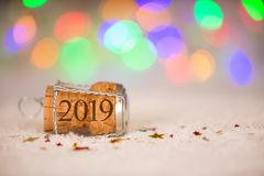 Happy New Year 2019 Cork on the Snow. New year concepts royalty free stock photography