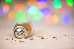 Happy New Year 2018 Cork on the Snow Stock Image
