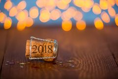 Happy New Year Cork on the Wood. New year working Royalty Free Stock Images