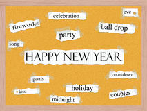 Happy New Year Corkboard Word Concept Stock Photo