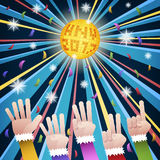 Happy new year countdown disco. Party with hands count number from five to one, under gold hny 2017 mirror ball and colorful confetti royalty free illustration