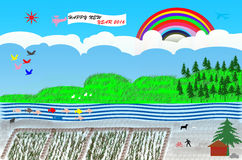 Happy new year 2016. Countryside and mountain forest art design and Happy new year 2016 Stock Photos