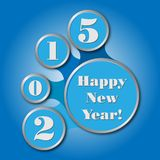 Happy new year 2015 - created as infographics. In blue colors Stock Photography