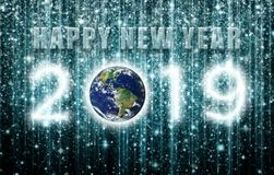 Happy New Year 2019 Created From Star and Galaxy Clusters stock images