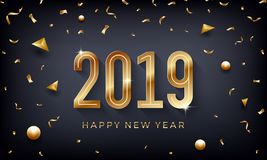Happy New Year 2019. Creative abstract vector illustration with sparkling golden numbers on dark background. Luxury 2019 wallpaper vector illustration
