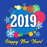 2019 happy new year creative banner, colored circle and snow vector illustration