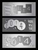 Happy New Year 2014 creative banner illustration. Happy new year 2014 holidays 3D banner design background. EPS10 vector file with transparency layers vector illustration