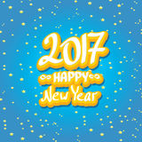 2017 Happy new year creative design background. Happy new year cartoon calligraphic text Royalty Free Stock Photos