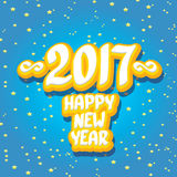 2017 Happy new year creative design background. Happy new year cartoon calligraphic text Royalty Free Stock Photo