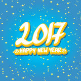 2017 Happy new year creative design background. Happy new year cartoon calligraphic text Stock Photography