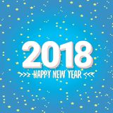 2018 Happy new year creative design blue greeting card Royalty Free Stock Photo