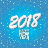 2018 Happy new year creative design blue greeting card Royalty Free Stock Image