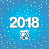 2018 Happy new year creative design blue greeting card Stock Photography