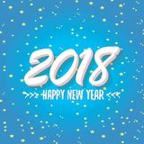 2018 Happy new year creative design blue greeting card Royalty Free Stock Images