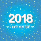2018 Happy new year creative design blue greeting card Stock Photos