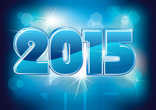 Happy new year 2015. Creative design card, blue color Royalty Free Stock Photos