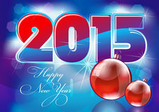 Happy new year 2015. Creative design card, blue, red color Royalty Free Stock Photo