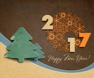 Happy new year 2017 creative design. Illustration of cardboard Royalty Free Stock Photos