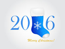 Happy new year 2016 creative greeting card. With blue Santa's boot and winter snowflakes. Vector illustration stock illustration