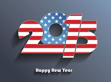 Happy new year 2015 creative greeting card design. In colors of American flag royalty free illustration