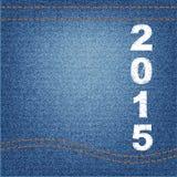 Happy new year 2015 creative greeting card design denim Stock Image