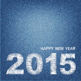 Happy new year 2015 creative greeting card design denim Stock Images