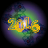 Happy new year 2016 creative greeting card design Royalty Free Stock Photos