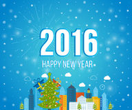 Happy new year 2016 creative greeting card design. Year 2016 vector design element.  Merry Christmas greeting card design. Merry christmas and New Year Royalty Free Stock Photography