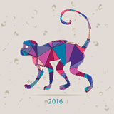Happy new year 2016 creative greeting card with monkey made of triangles Stock Photography