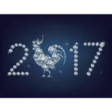 Happy new year 2017 creative greeting card with Rooster made up a lot of diamonds Stock Photography