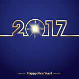 2017 Happy New Year with creative midnight clock. Sample vector illustration