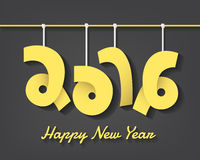 Happy new year 2016 creative text. Happy new year 2016 cretive text with mobile hanging style in vector stock illustration