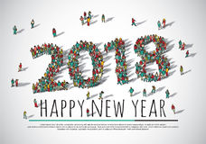 2018 happy new year crowd big group people. Royalty Free Stock Images