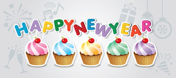 Happy new year cupcake card Royalty Free Stock Images