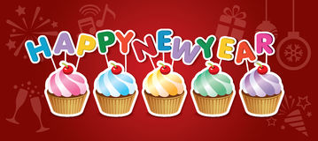 Happy new year cupcake card Stock Image